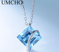 Fashion S925 Sterling Silver Natural Blue Topaz Pendant Clavicle Chain Women Jewelry Wholesale