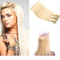 360 кружева Frontal Blached Blonde бразильские волосы девственницы с прямыми пачками волос # 613 Precucked 360 кружевной закрытие с регулируемым ремешком