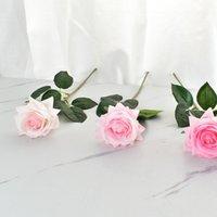 Fiori decorativi multicolor idratante fiore rosa flower singolo stelo di buona qualità fiori artificiali per decorazioni di nozze T2i51884