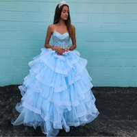 Sweetheart Quinceanera Dresses with Beaded Lace Up Sexy Back Vestidos De Soiree Ruffles Tulle Long Sweep Bride Party Formal Prom Gowns