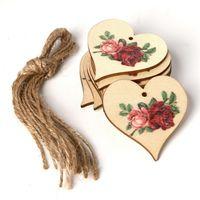 Ahşap Parti Asılı Kolye Vintage Gül Çiçek Melek Renkli Baskılı Festivali Ağacı Süsleme 10 adet / grup DIY Ev Dekor Lla4809