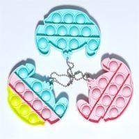 Giocattoli di decompressione Piccolo portachiavi Toy Pendant Pendant Finger Bubble Music Arcobaleno Colore Silicone
