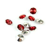 Chandelier Crystal S Silve Vermelho 100 pçs / lote 14mm Prism Octagon Beads Pingente em 2 furos K9 Vidro para decoração de casamento