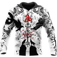 Men's Hoodies & Sweatshirts Viking Tattoo Mens Casual 3D Wolf Print Harajuku Pullover Women Hood Hip-Hop Jacket Unisex Streetwear
