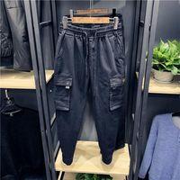 Мужские штаны 2021 длинный грузовой сафари стиль с карманами повседневные брюки для мужской весенней осенней одежды зеленый черный плюс размер 3XL