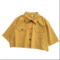 Merry Hübsche Frauen Hemden Sommer Harajuku Bluse-Hemd Frauen Croptops Down Kragen Tasche Korean Nette Button kurz