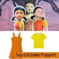 1 Pc  Drop Shipping Squid Game Round Six 123 Wooden Man Girl Dress Girls Women Cosplay Costume Yellow T shirt Orange Dreses Halloween Christmas Clothing H1011SR4H