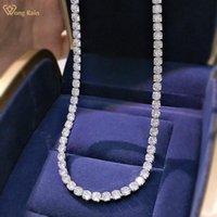 Ketten Wong Rain 925 Sterling Silber Erstellt Moissanite Edelstein Jubiläum Full Diamond Chain Choker Unisex Halskette Fine Schmuck