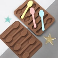 Baking Moulds 6 Even Realistic Spoon Shape Non-stick Silicone 3D Chocolata Candy Mould DIY Cake Decoration Molds Jelly Ice Bake Mold Kitchen Tools