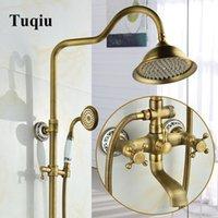 Tuqiu chuva chuveiro conjunto torneira torneira com banheira latão luxo antique bronze banho conjunto banheira banheiro