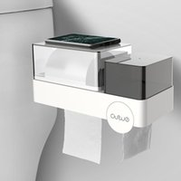 Tissue Boxes & Napkins Multi-functional Waterproof Box Toilet Wall-mounted Tray Bathroom Visible Tape Paper Roll Towel Rack Napkin Holder