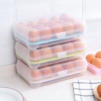 منظمة تخزين الأغذية البلاستيكية مجموعات البيض مربع منظم الثلاجة تخزين 15 بيض صناديق في الهواء الطلق الحاويات المحمولة
