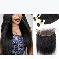 Spitze Frontalverschluss mit Bündeln Brasilianisches jungfräuliches Haar verworrene gerade 13x4 volles Frontal-Spitzenverschluss mit 3-Bundles-Menschliches Haar