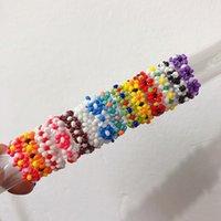 손으로 만든 보석 도매 다채로운 작은 꽃 반지 한국어 조인트 반지 손으로 짠 신선하고 사랑스러운 흥미로운 반지