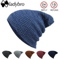 Ladybro Winter Wool Hat Women Men Skullies Cap Knitted Women's Brand Bonnet Beanies For Female Male Baggy