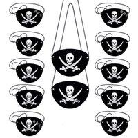 10 قطع شعر بقع القراصنة للأطفال موضوع واحد هيكل عظمي الكابتن العين التصحيح هالوين أقنعة حزب