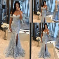 Soft Light Sky Blue Evening Dresses Mermaid Lace Appliqued Off The Shoulder Formal Prom Gowns High Side Split Gorgeous Reception Party Dress