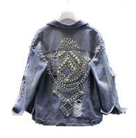 2020 Pearls Beading denim clothing for women Autumn diamond Denim Jacket For Women Vintage Harajuku Coat Female loose Jean Coat1