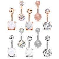 Anéis de umbigo de zircão para mulheres meninas de aço inoxidável umbigo barbell anel corpo perfurando jóias 5 pcs / set