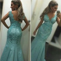 Sky blue Prom Dresses V Neck Mermaid Spaghetti Straps Major Beading Crystal Backless Floor length Custom Prom Evening Gowns Vestido
