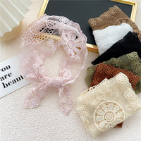 Scarves 2021 Elegant Summer Women's Black Pink Green White Triangle Lace Flower Scarf Handkerchief Bag Women Hair Head Scarfs Bandana