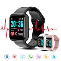 Y68 Smart Watch Homens Mulheres Pressão Sanguínea Tracker Tracker Pulseira Pulseira D20 À Prova D 'Água Smartwatch Android Apple
