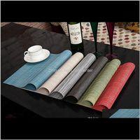 Matten Dekoration Asores Küche, Bar Home Garten Drop Lieferung 2021 Vinyl Tisch Platz Matte Tischsets Weave Weave Woven Effect Moderne Farben DIN