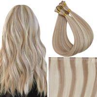 12 månader ugeat mänskligt hår väft Virgin mänskliga hårförlängningar 100% hand bundet sy i väft mänsklig hår extensinos salong kvalitet