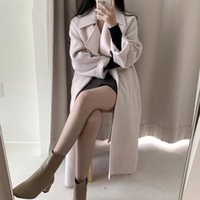 Women's Trench Coats 2021 Winter Notched Collar Wool Coat Casual Thick Loose Single-breasted Belt Lace-up Solid