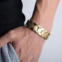 Länk, Kedja Hexagonal Multipoint Magnet Armband Avtagbar Mäns Mode Punk Smycken E9j1