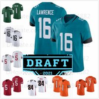 Zach Wilson Justin Fields Jersey Trevor Lawrence Trey Lance 8 Kyle Pitts Jersers Jerseys Black Bianco Green Arancione 2021 Draft