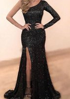 Mermaid One Shoulder Prom Dresses Exquisite Sequins with Split Long Sleeves Evening Gown Custom Made Evening Dress