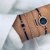 Link, Chain Compass Bracelet Adjustable Friendship Black Hexagon Handcrafted Jewelry Women