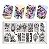 Nail Art Templates BeautyBigBang Lace Theme Stamping Plate DIY Rectangle Decoration Image Template