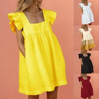 Casual Dresses Women Ruffled Mini Dress Summer Cute Square Collar Pocket Elegant Butterfly Sleeve Beach Party Female Vestidos