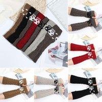 Five Fingers Gloves Women Halloween Warm Winter Knitted Mitten Sleeve Long Fingerless Wrist Arm Warmer