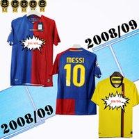 長袖2008年2009チャンピオンホームアウェイレトロサッカージャージメッシXavi Henry Puyol David Villa Match Deatils 08 09 Classic Retroサッカーシャツ