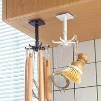 Hooks & Rails Kitchen Hook Organizer Bathroom Hanger Wall Dish Drying Rack Holder For Lid Cooking Accessories Cupboard Storage Cabinet Shelf