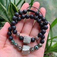 Energie natur tibetan dzi agate armband heilung stein drei augenagat golden pyrit charme schwarze lava armbänder für frauen männlich