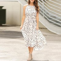 Casual Dresses Women Fashion Boho Leopard Print Shirt Dress Holiday Halter Summer Female Asymmetric Long Beach #T1G