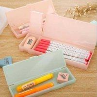 Casos de lápis bonito transparente PP Caixa de plástico encantador caixa de caneta para crianças Presente de escritório de material escolar material de material livre S1GX
