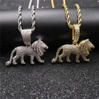 Hip Hop Full CZ Stone Paved Bling Iced Out Male Lion Animal Pendants Necklace for Men Rapper Jewelry Gold Silver