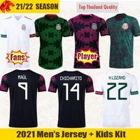 2021 Mexiko Fussball Trikots Ochoa 20 21 Chicharito Lozano Dos Santos Football Hemd Raul Fans Spielerversion Männer + Kinder Kit Sets Uniformen