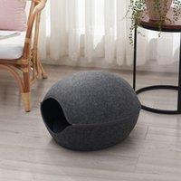 Cat Beds & Furniture Felt Round Cave Shaped Warm Nest For Cats Pet Safety Place Sleep Zip Up Bag Kitten Novel 2021