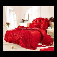 Supplies Textiles Home & Garden42 Cotton Lace Jacquard Bedding Sets Boho Wedding Luxury Decorative Queen King Size 4 8 Pcs Bedskirt+Pillowcas