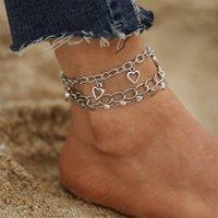 Multilayer Silver Color Hollow Heart Anklet For Women Geometric Ankle Bracelet Leg Foot Chain Anklets Jewelry 3Pcs set 3075 Q2