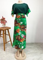 African Clothes For Women 2021 Spring And Summer Printing Two Pieces Sets Top Skirt Clothing Ethnic