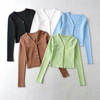T-shirt das mulheres Yozou mulheres vintage estilo bm Único breasted botton up ribbed manga longa manga longa superior Tee para fêmea YL-481