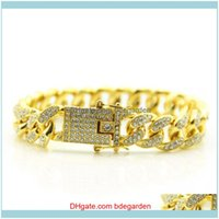 Charm Jewelry Gold Bracelet Mens Cuban Link Chain Bangle Shiny Out Crystal Inlaid Jewelry Fashion Bracelets For Women Friends Gift Drop Deli