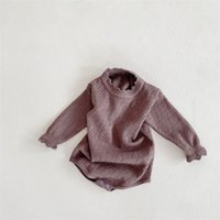 NG INS Quality Baby Rompers Spring Autumn Hollow Knitted Ruffles Collar Jumpsuits Bodysuits 1845 Z2